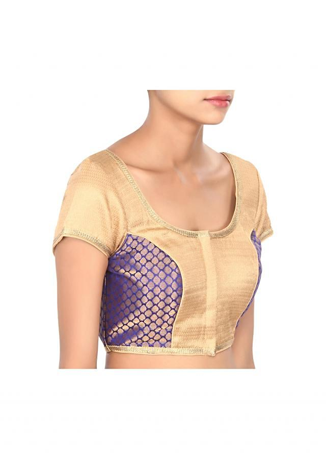 Royal blue and beige blouse highlighted in gold lace only on Kalki