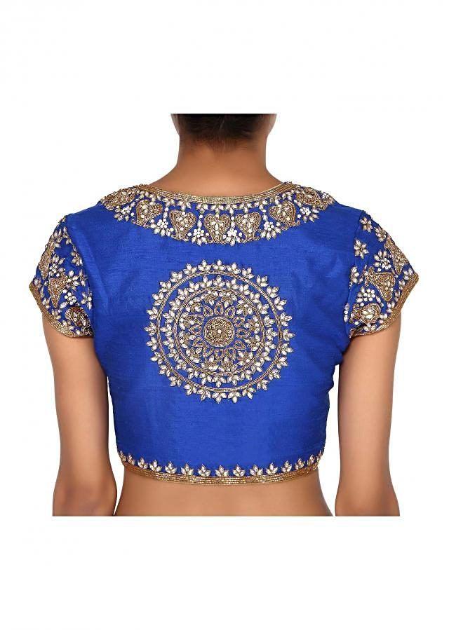 Royal blue blouse adorn in kundan embroidery only on Kalki