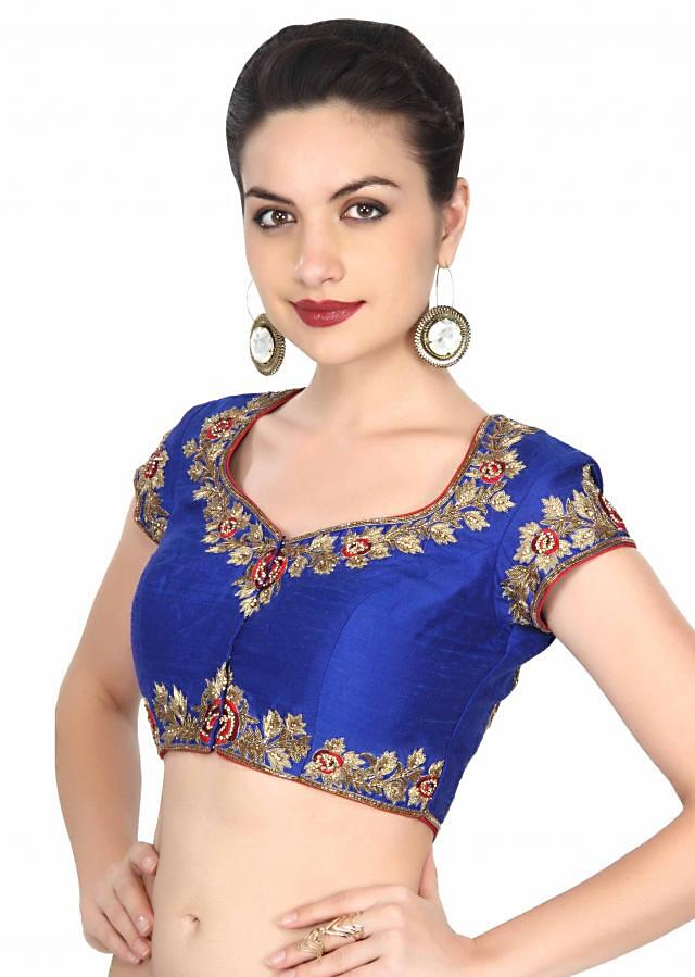 Royal blue blouse adorn in peacock motif embroidery only on Kalki