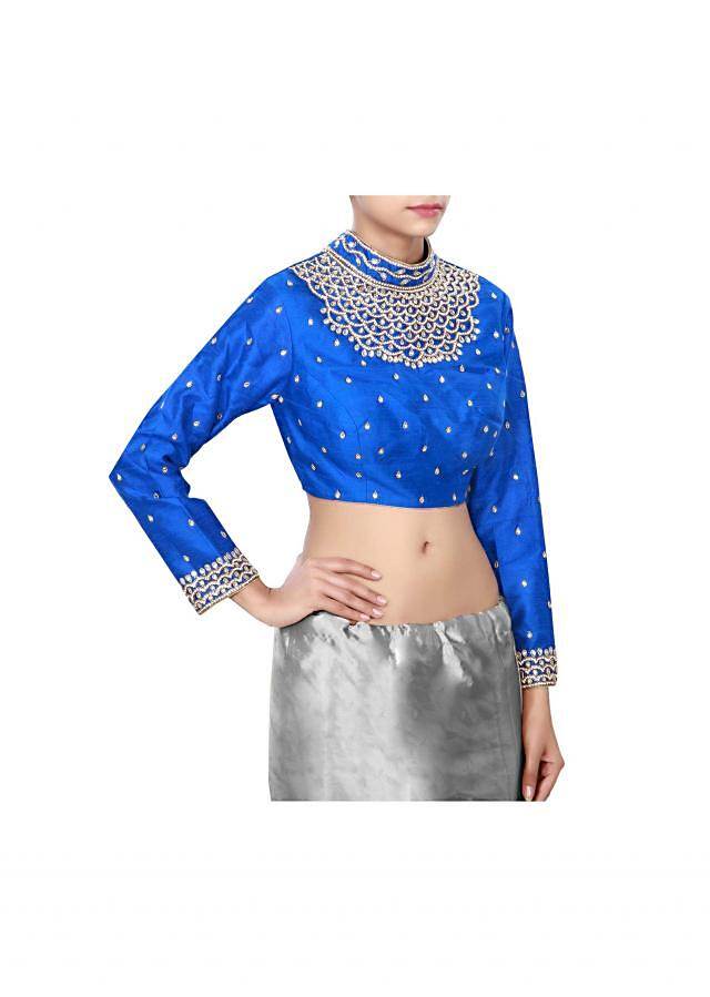 Royal blue blouse features with embellished neckline only on Kalki