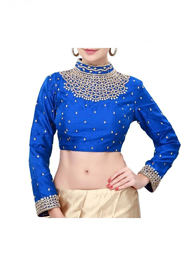 Royal blue blouse features with embroidered neckline only on Kalki