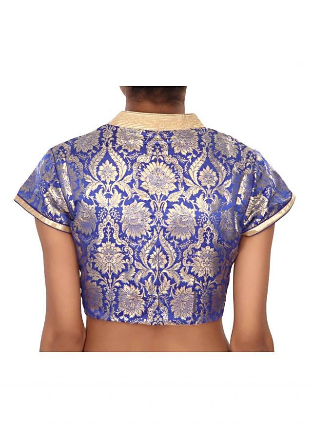 Royal blue blouse highlighted in gold collar only on Kalki