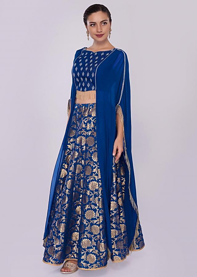 Royal Blue Brocade Lehenga Paired With Long Fancy Crop Top With Fancy Cape Online - Kalki Fashion