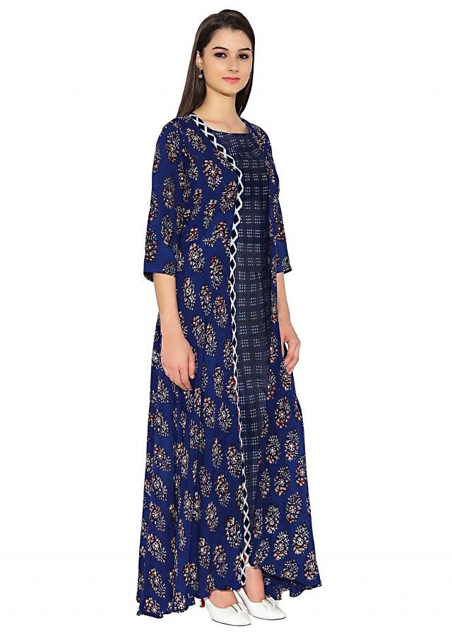 Royal Blue Cotton Kurti With Overcoat Layered And Quirky Style Printed Only On Kalki