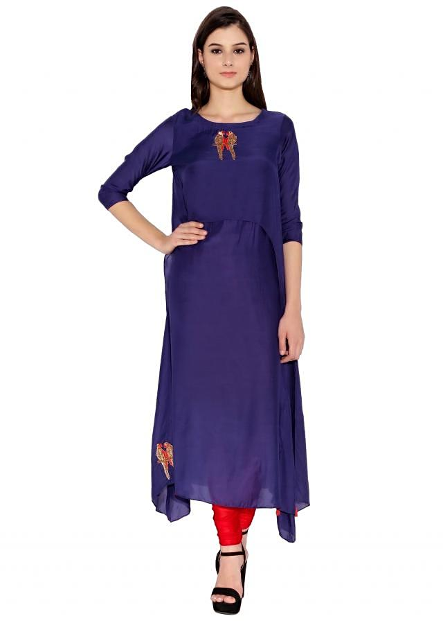 Royal Blue Cotton Kurti With Thread And Sequin Embroidered Parrot Motif On Neck And Bottom Only On Kalki