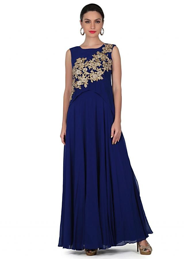 Royal blue dress adorn in gotta lace embroidery only on Kalki