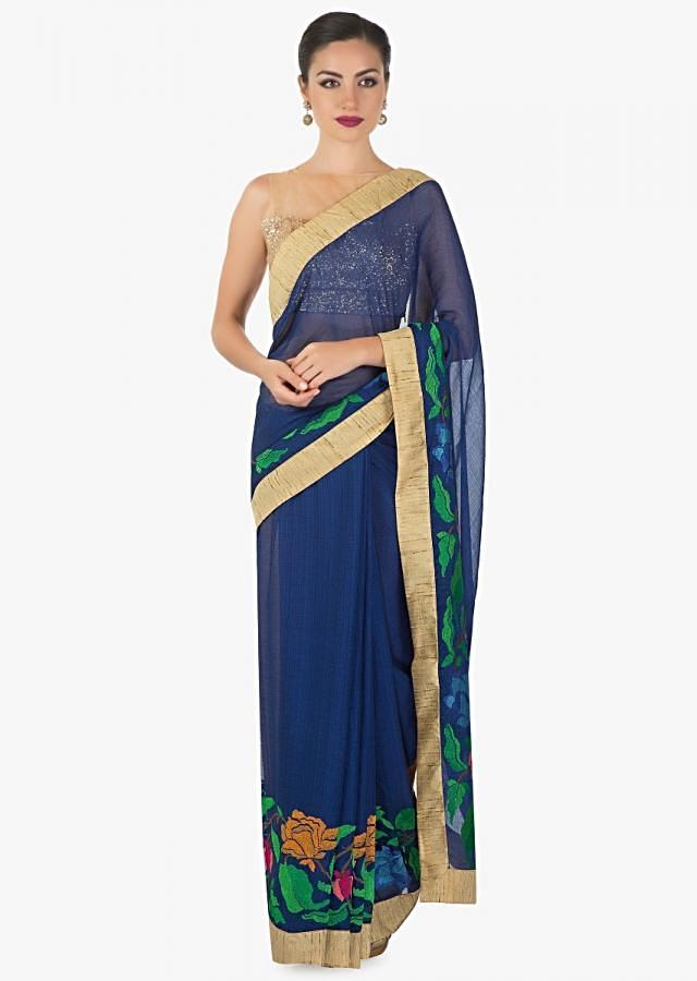 Royal blue georgette saree adorn with  floral resham embrodary