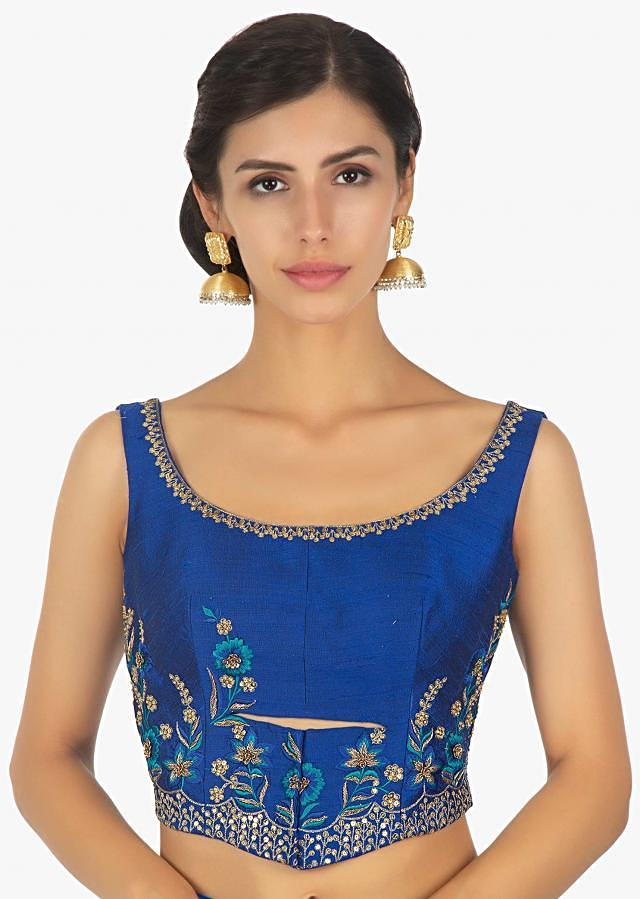 Royal blue georgette saree with pre stitched pallo and pleats only on Kalki