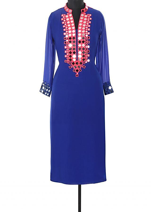Royal blue kurti enahcend in mirror and resham embroidery only on Kalki