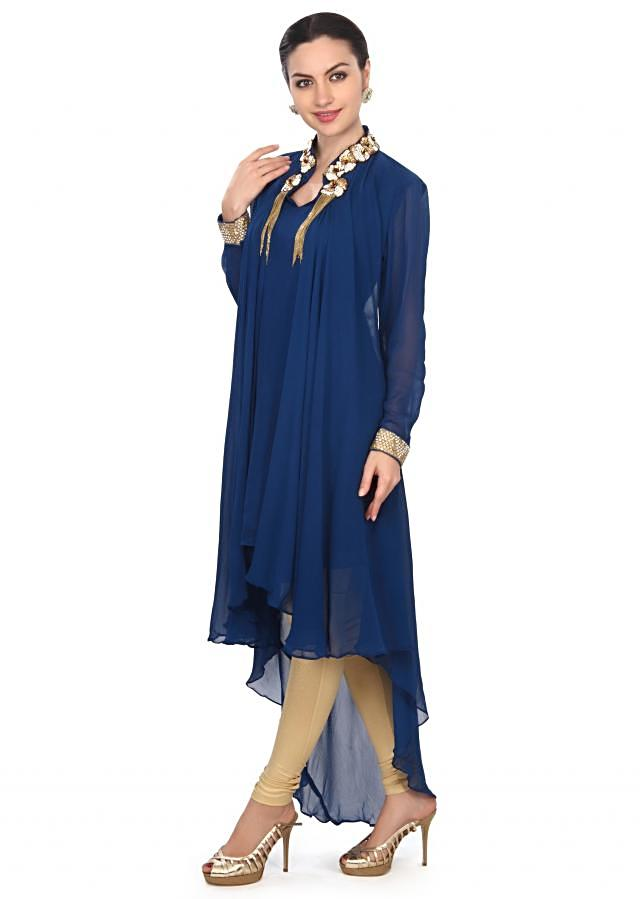 Royal blue kurti features with embellished neckline only on Kalki