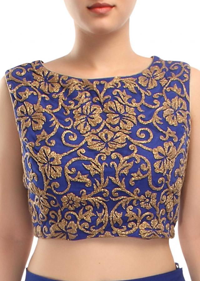 Royal blue outfit adorn in embossed zari embroidery only on Kalki