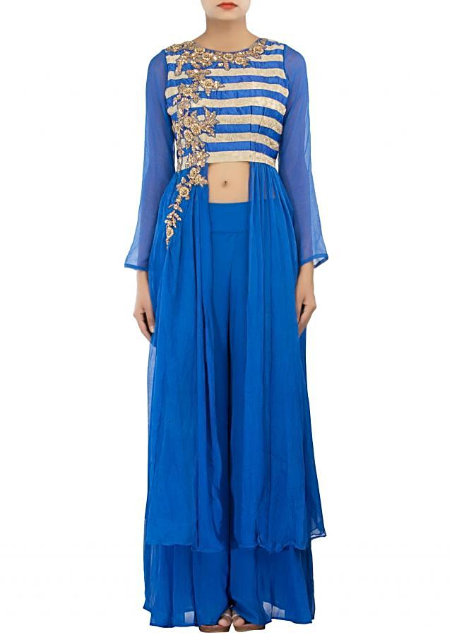 Royal blue outfit adorn in zardosi and sequin embroidery only on Kalki