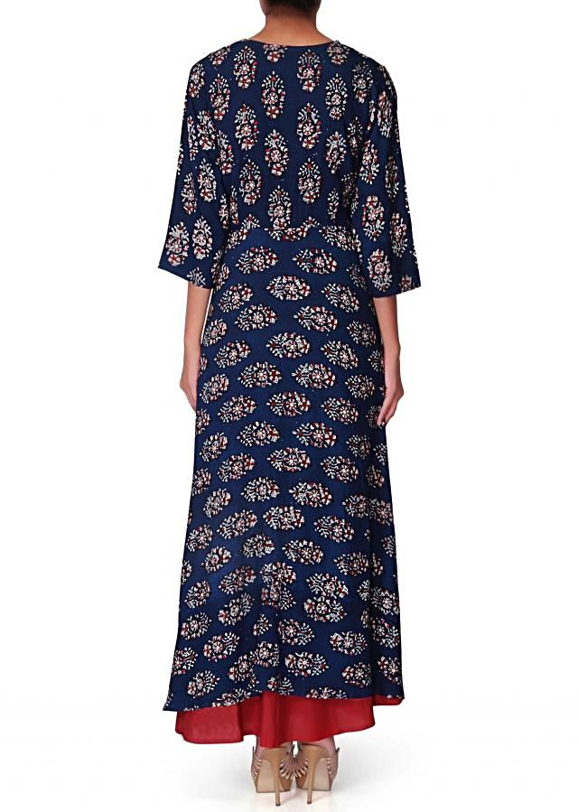 Royal blue printed jacket with red slip dress only on Kalki