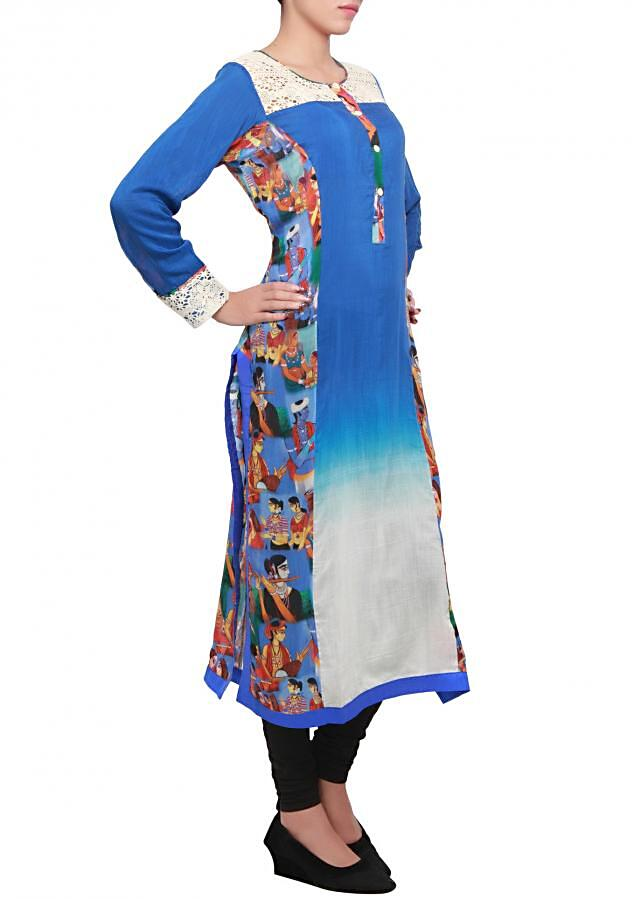 Royal blue printed kurti featuring in georgette with crochet lace yoke only on kalki
