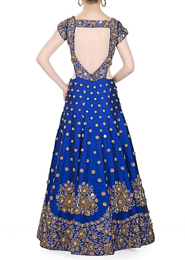 Royal Blue Raw Silk Gown Designed with Moti and Zardosi Embroidery only on Kalki