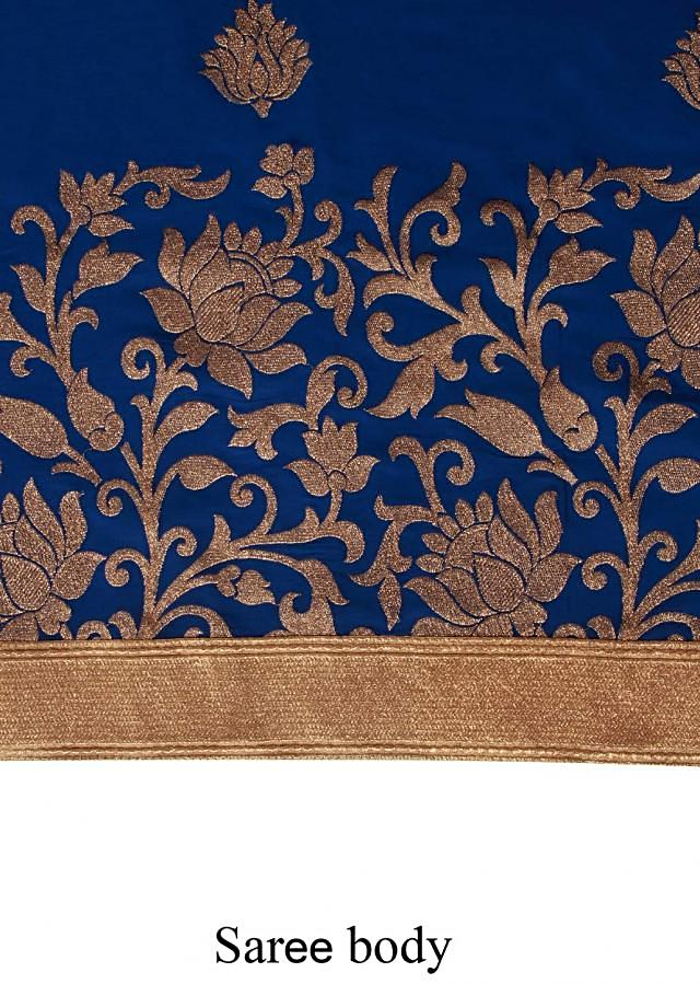 Royal blue saree enhanced in weave embroidery only on Kalki
