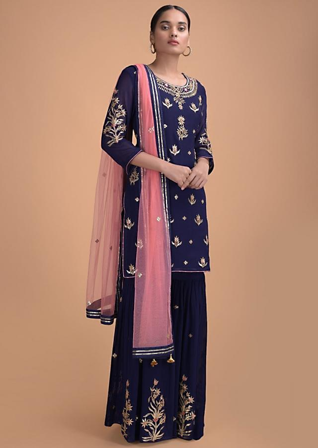 Royal Blue Sharara Suit In Royal Blue With Gotta Patches Online - Kalki Fashion