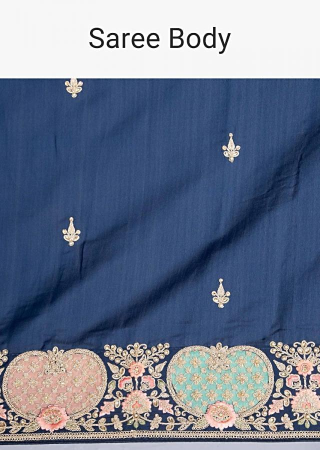 Royal Blue Silk Saree With Embroidered Butti And Border Online - Kalki Fashion
