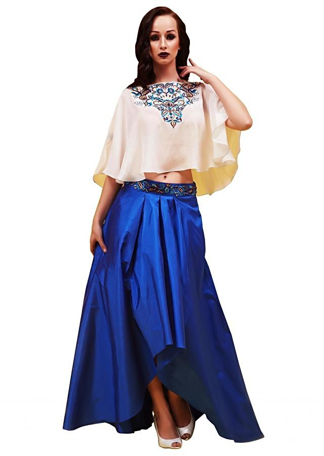Royal blue skirt with resham embroidered cape top