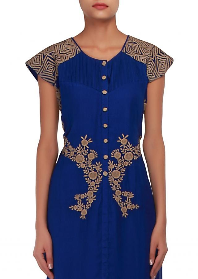 Royal blue straight fit suit embellished in french knot embroidery only on Kalki