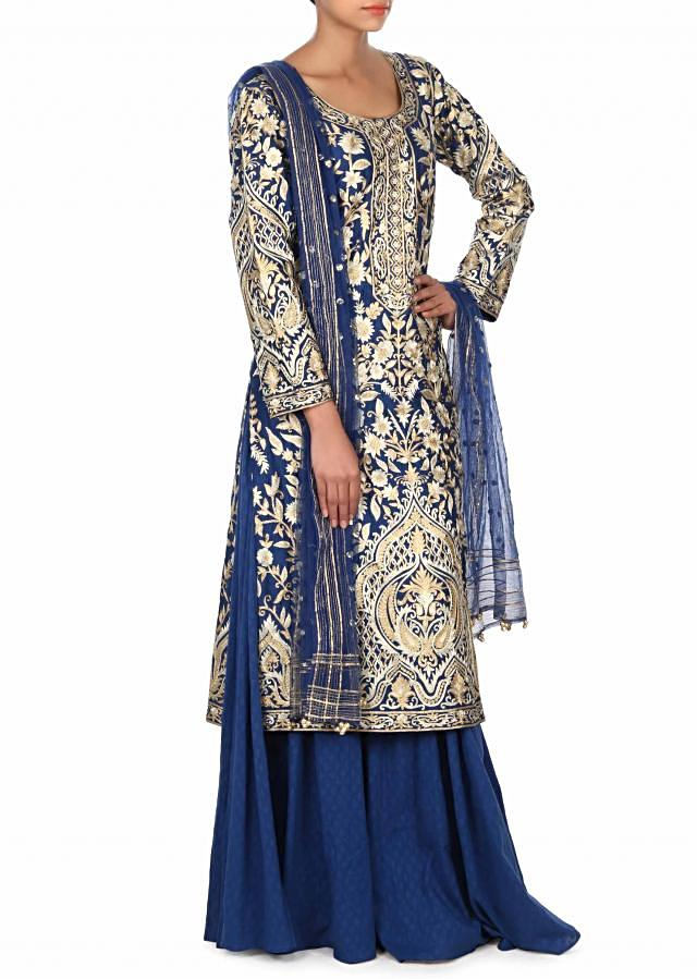 Royal blue straight suit adorn in zari embroidery only on Kalki