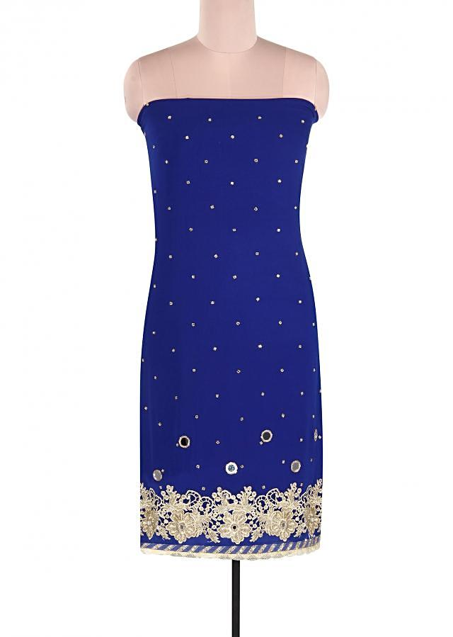 Royal blue suit adorn in mirror and zari embroidery only on Kalki