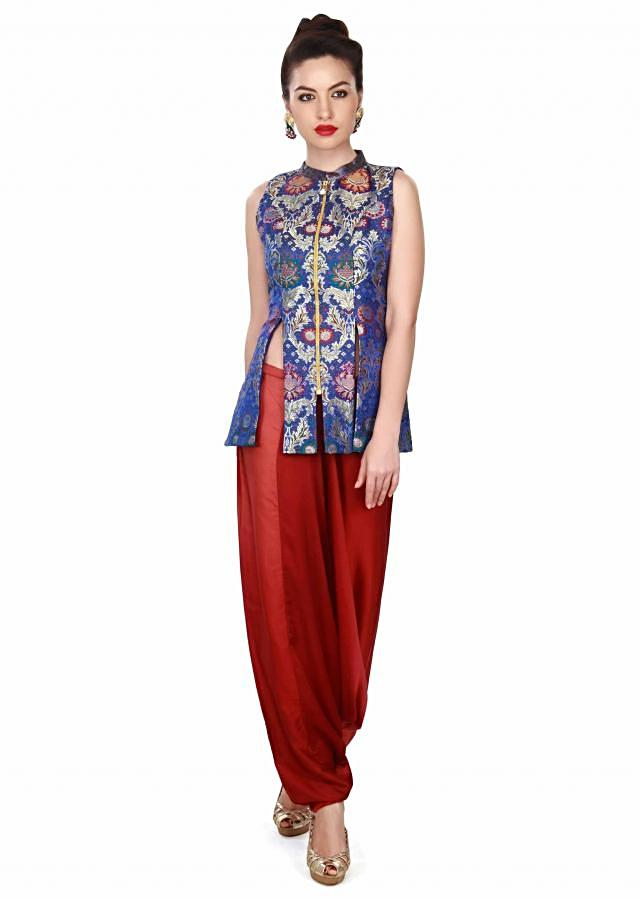 Royal blue suit in brocade only on Kalki