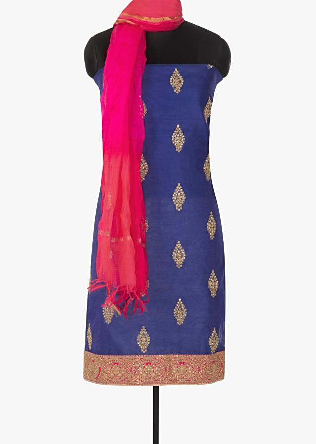 Royal blue unstitched suit in cotton silk with embroidered butti only on Kalki