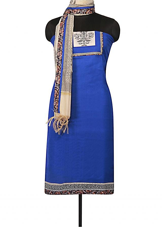 Royal blue unstitched suit with floral printed placket only on Kalki