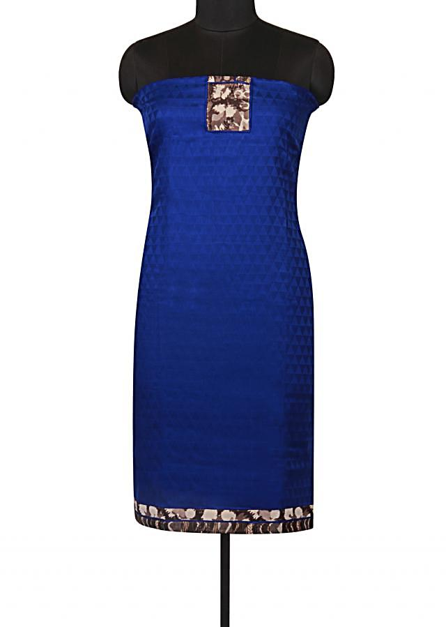 Royal blue unstitched suit with printed placket only on Kalki