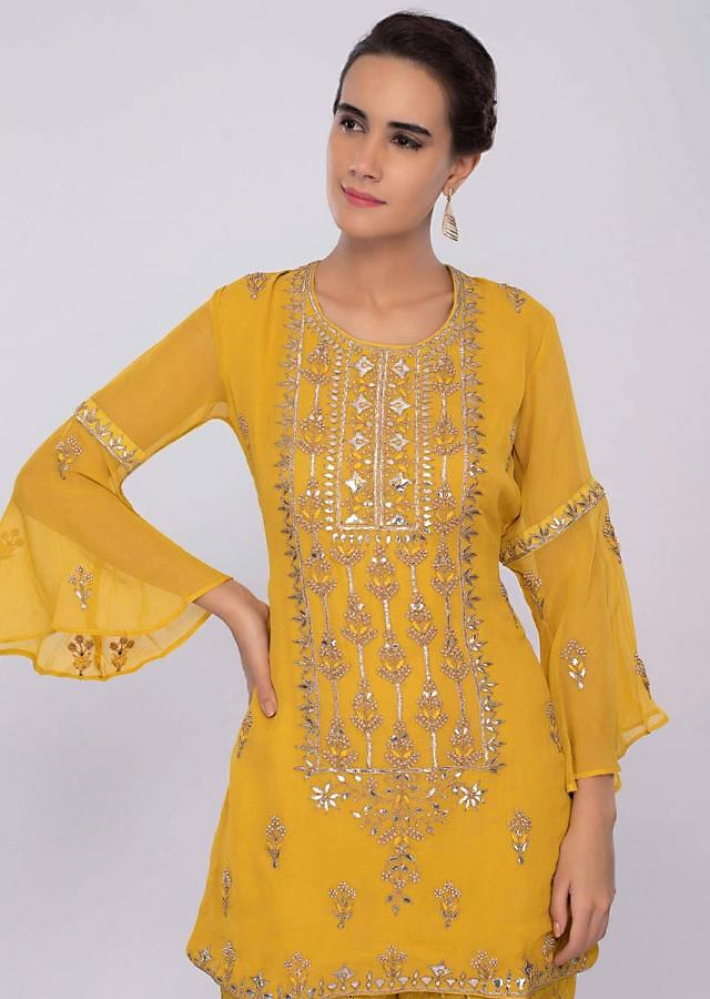 Royal Yellow Sharara Suit Set In Georgette With Embroidery Online - Kalki Fashion