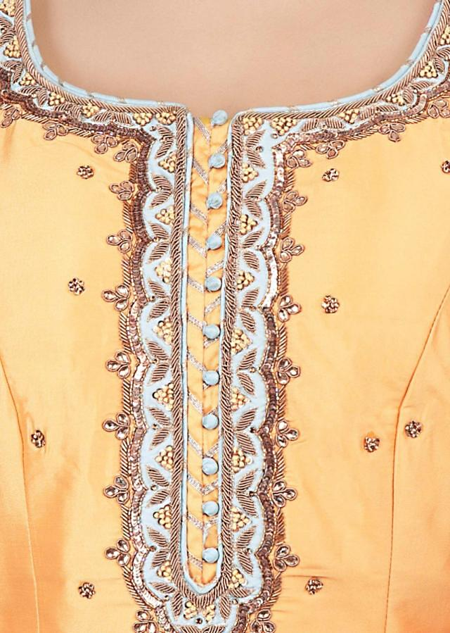Royal yellow sharara suit set with embroidery and butti-only on Kalki