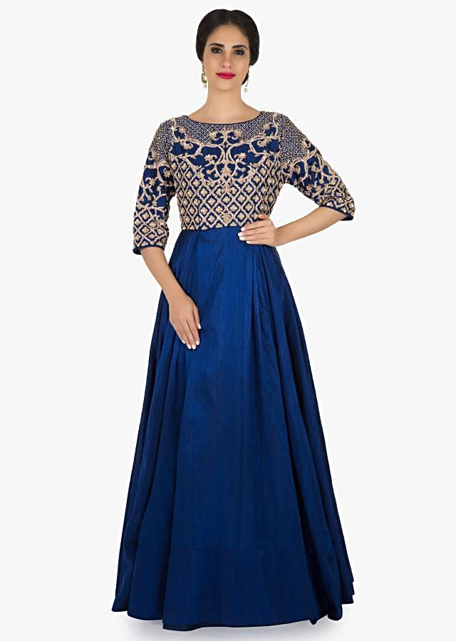 Royal Blue Anarkali gown in silk featuring the zardosi work at bodice only on Kalki