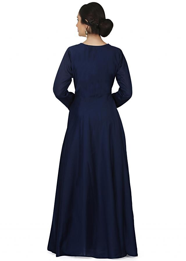 Royal blue anarkali suit in cotton silk with gotta lace embroidery only on Kalki