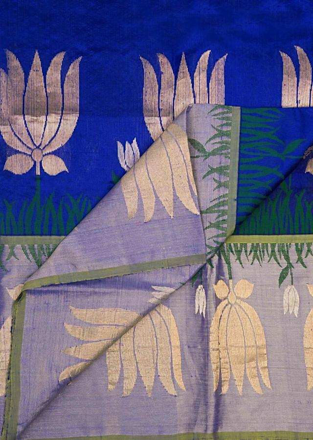 Royal blue and light lavender saree in silk  only on Kalki