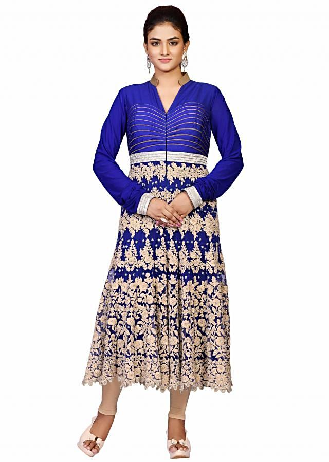 Royal blue and peach suit in net embellished in machine zari work only on Kalki