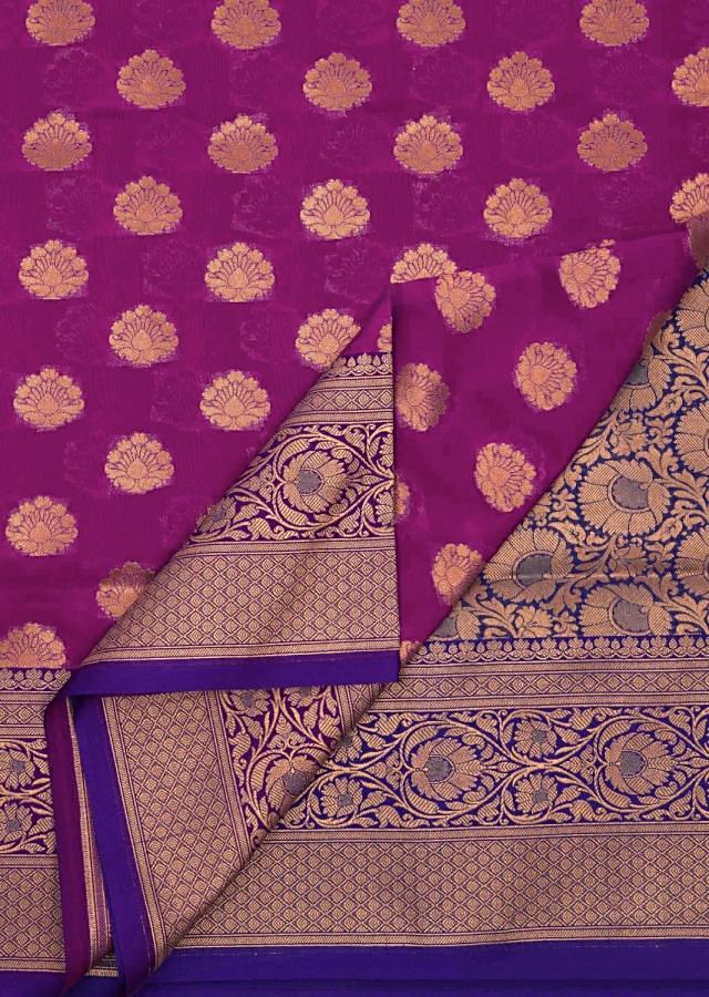 Royal blue and rani pink saree in silk with brocade pallav only on Kalki