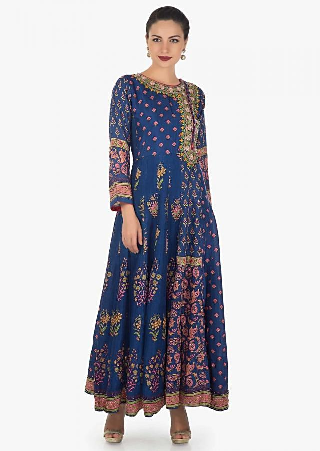 Royal blue dress in santoon with floral print and resham embroidery neck only on Kalki