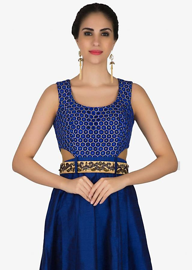 Navy blue dress with embroidered belt