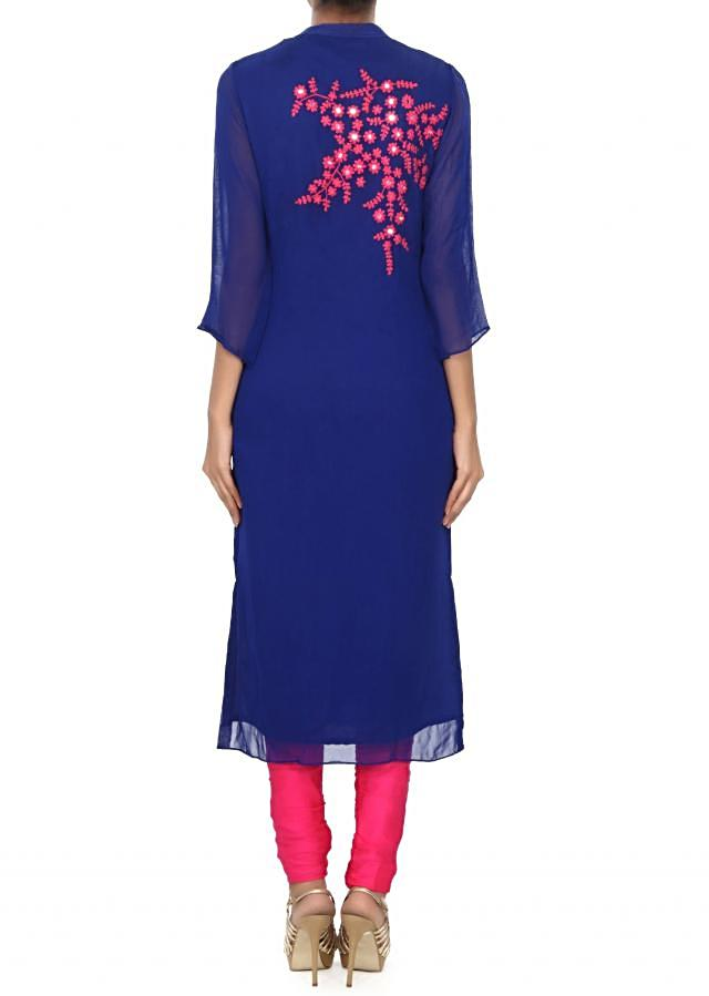 Royal blue kurti embellished in thread and mirror embroidery only on Kalki