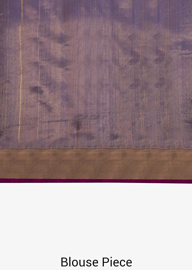 Royal blue saree in silk beautified in weaved embroidery only on Kalki