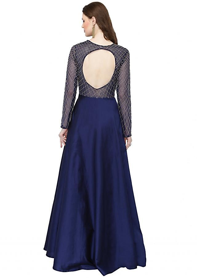 Royal Blue Silk Net Gown Styled with Cut Dana only on Kalki