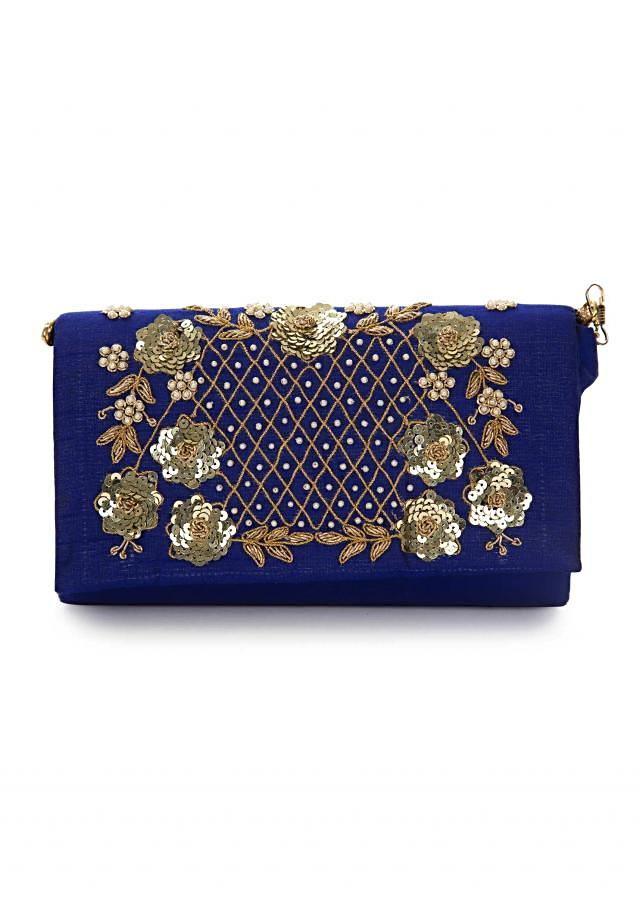 Royal blue sling bag embroidered in zari and sequin work only on Kalki