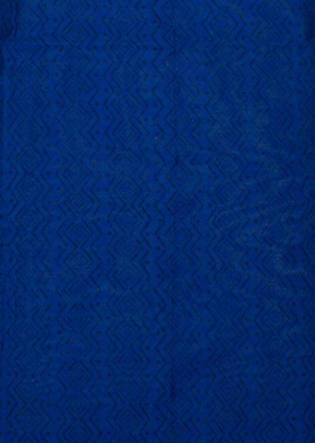 Royal blue unstitched suit with printed border only on Kalki