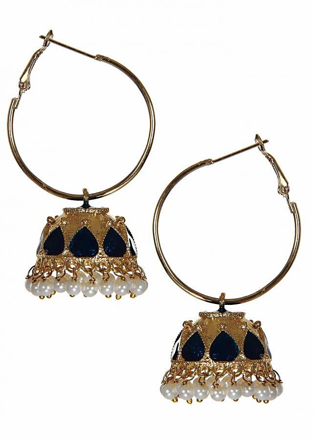 Inspired by the lotus flower, these golden jhumkas have blue petals enameled on it. Pair them with a Indian dress or tunic to get the perfect look.