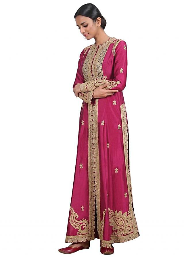 Ruby pink chanderi silk A line suit with silk pants