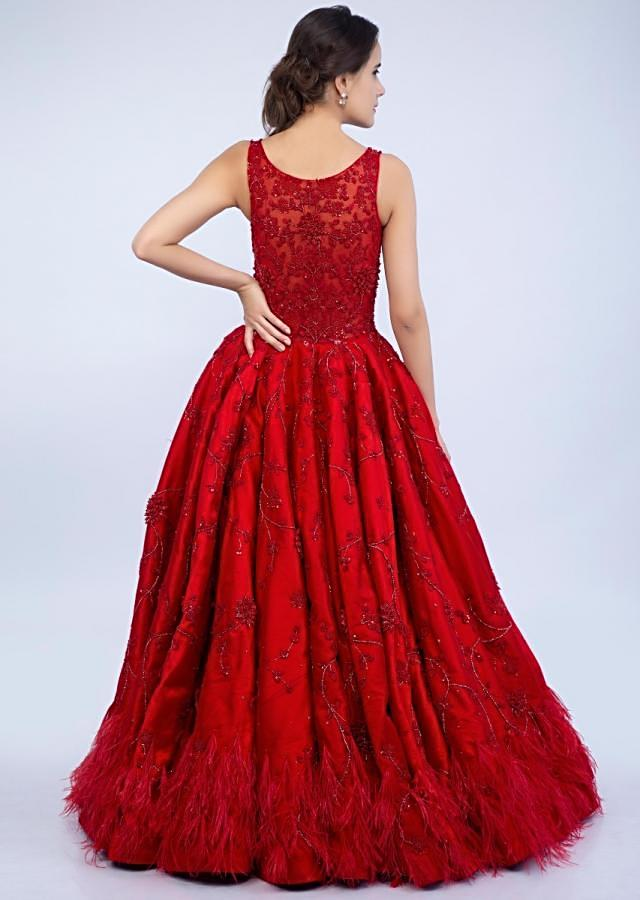 Ruby Red Gown In Embroidered Net With Feather Hem And Deep V Neck Online - Kalki Fashion