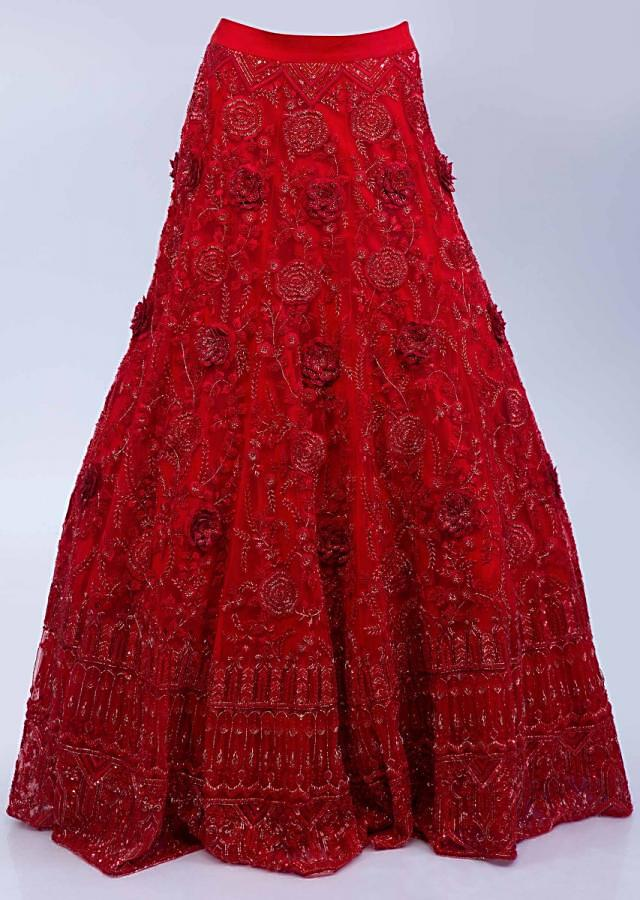 Ruby Red Lehenga Set In Embroidered Net With Floral And Temple Motif Online - Kalki Fashion