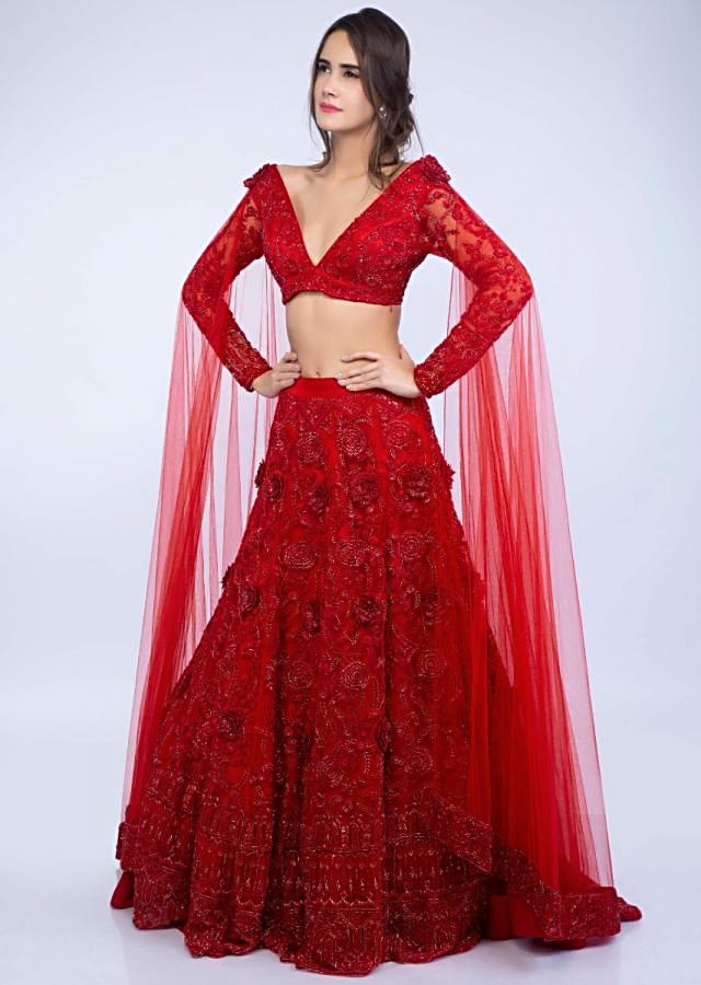 Ruby red embroidered net lehenga set with floral and temple motif only on Kalki