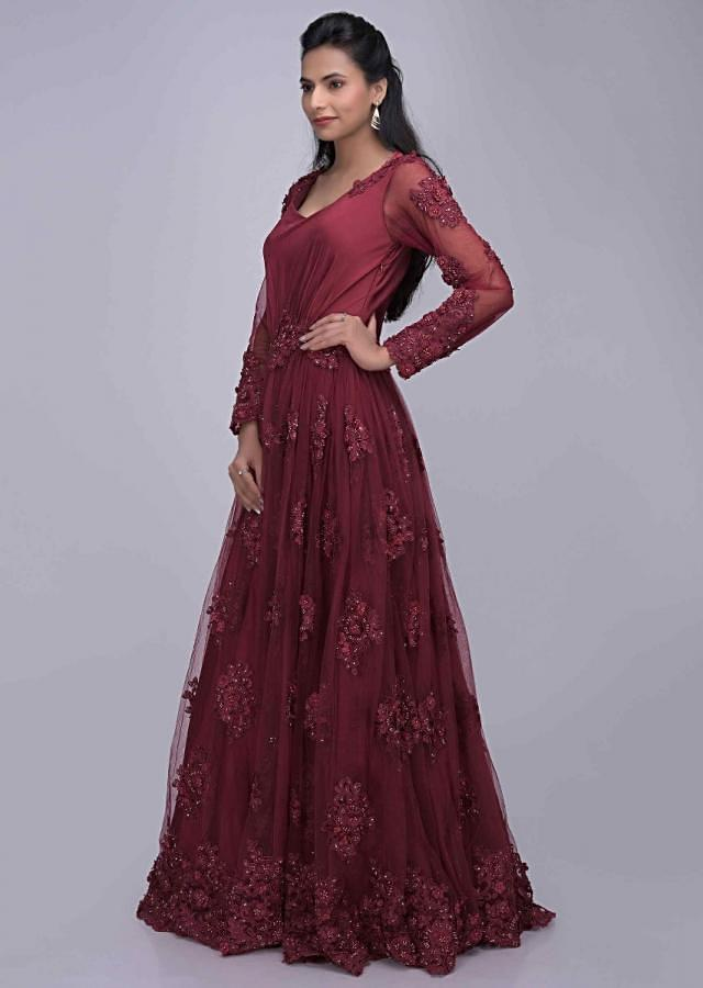 Ruby Red ethnic gown in embroidered net and satin only on Kalki
